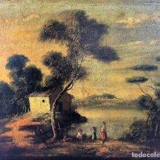 Arte: ESCENA PASTORIL. ÓLEO SOBRE LIENZO. SIN FIRMA. ITALIA(?). FIN SIGLO XIX. Lote 87492012
