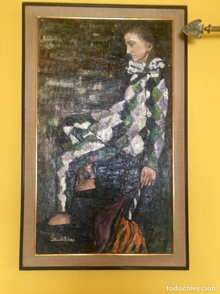 CUADRO OLEO PIERROT ARLEQUIN NIÑA CANSADA SOL DE ANDRES ESCUELA GUTIERREZ NAVAS 135X85 C (Arte - Pintura - Pintura al Óleo Contemporánea )