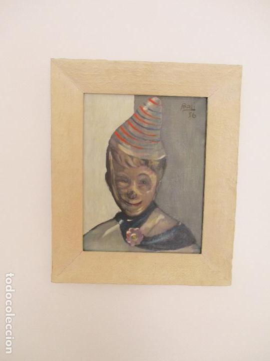 ANTIGUO CUADRO - ÓLEO SOBRE TELA - RETRATO PAYASO - TITULO, APRENDIZ DE PAYASO - FIRMA BALI -AÑO 56 (Arte - Pintura - Pintura al Óleo Contemporánea )