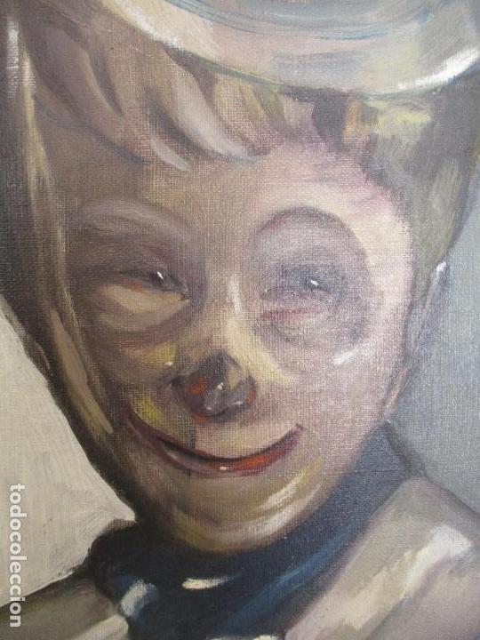 Arte: Antiguo Cuadro - Óleo sobre Tela - Retrato Payaso - Titulo, Aprendiz de Payaso - Firma Bali -Año 56 - Foto 5 - 87807260