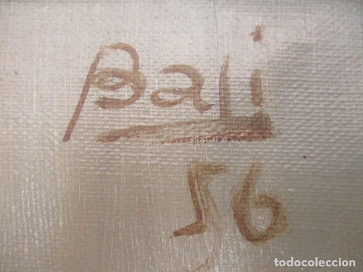 Arte: Antiguo Cuadro - Óleo sobre Tela - Retrato Payaso - Titulo, Aprendiz de Payaso - Firma Bali -Año 56 - Foto 6 - 87807260