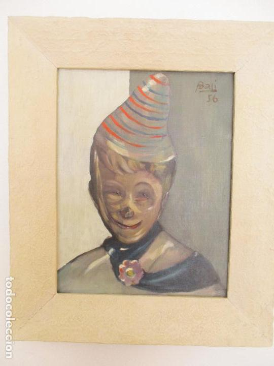 Arte: Antiguo Cuadro - Óleo sobre Tela - Retrato Payaso - Titulo, Aprendiz de Payaso - Firma Bali -Año 56 - Foto 12 - 87807260