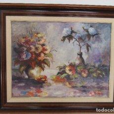 Arte: ANTIGUA PINTURA - ÓLEO SOBRE TABLA - BODEGÓN - DECORADO CON FLORES - FIRMA LL. PRESSEGUER. Lote 96811004