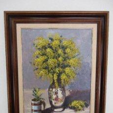 Arte: ANTIGUA PINTURA - ÓLEO SOBRE TABLA - BODEGÓN - DECORADO CON FLORES - FIRMA LL. PRESSEGUER. Lote 87819504