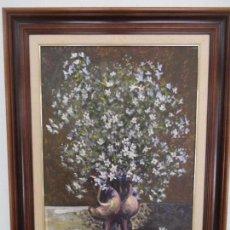 Arte: ANTIGUA PINTURA - ÓLEO SOBRE TABLA - BODEGÓN - DECORADO CON FLORES - FIRMA LL. PRESSEGUER. Lote 87819948