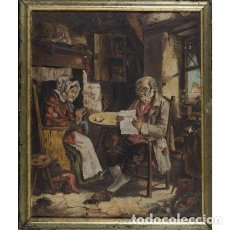 Arte: ANCIANO LEYENDO - OLEO SOBRE LIENZO - R. HERNANDEZ. Lote 88115952