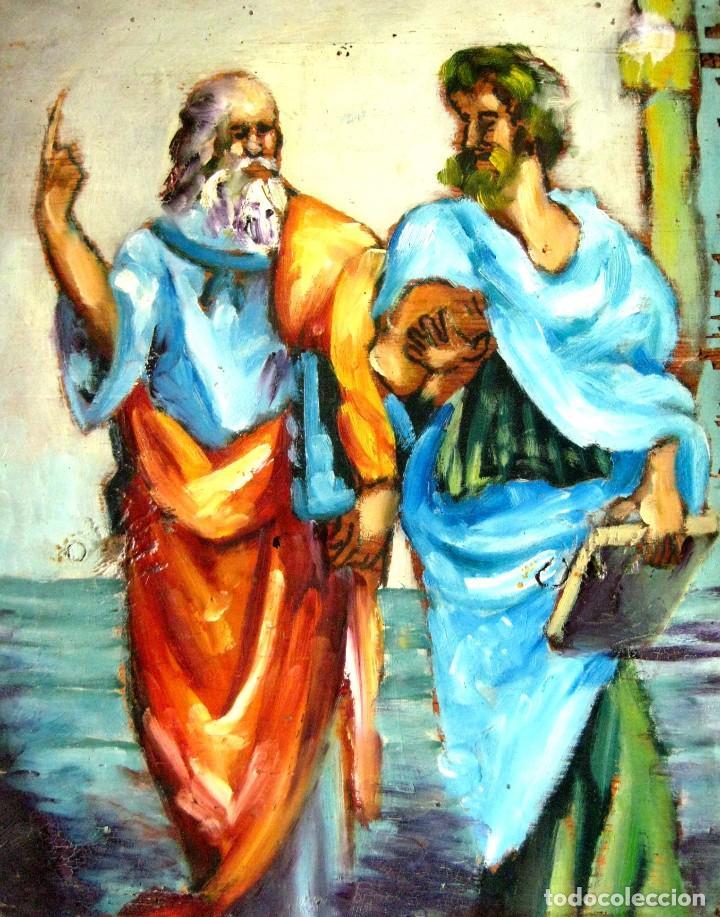 DESPUÉS DE RAFAEL DE SANZIO. PLATÓN Y ARISTÓTELES. OLEO/TABLA POSIBLEMENTE DEL SIGLO XVIII. (Arte - Pintura - Pintura al Óleo Antigua siglo XVIII)