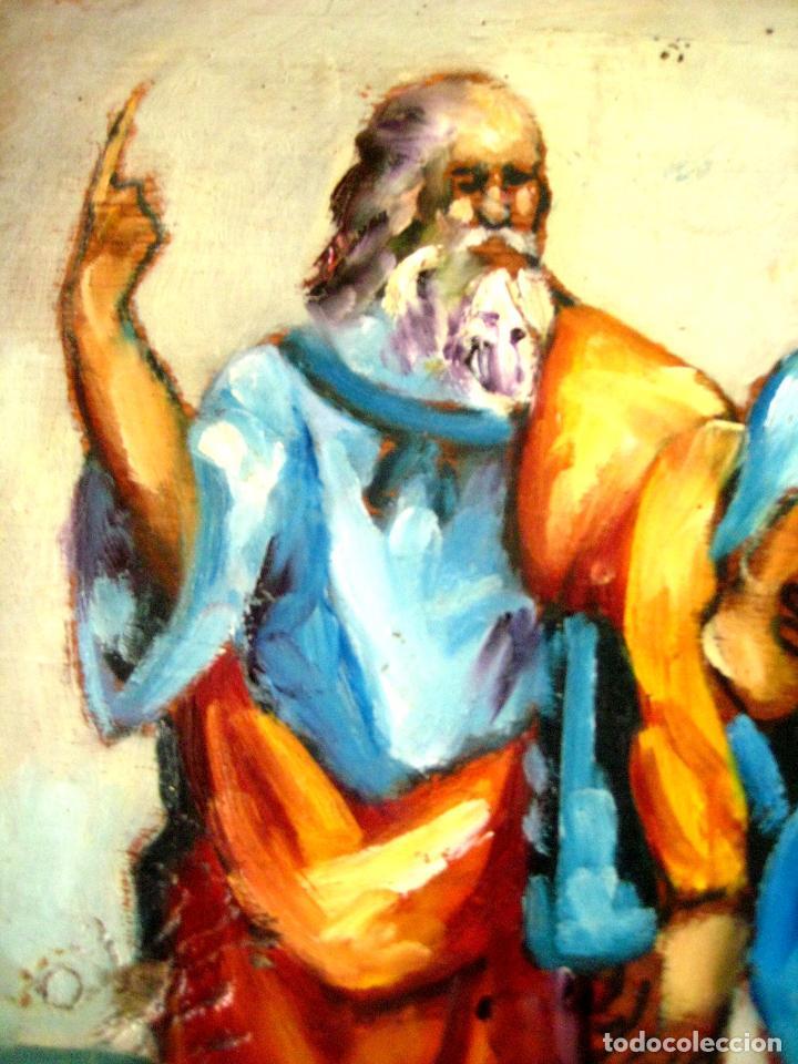 Arte: DESPUÉS DE RAFAEL DE SANZIO. PLATÓN Y ARISTÓTELES. OLEO/TABLA POSIBLEMENTE DEL SIGLO XVIII. - Foto 2 - 88155168