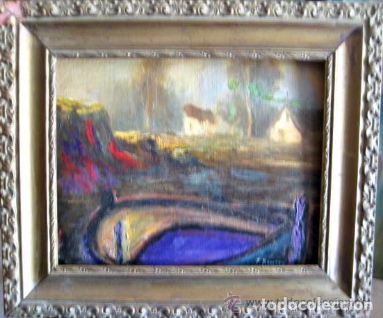 PAISAJE VALENCIANO. ANTIGUO ÓLEO/CARTÓN. FIRMADO F. ROMERO (Arte - Pintura - Pintura al Óleo Moderna sin fecha definida)