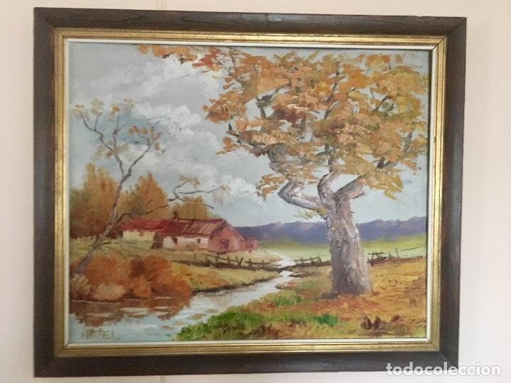 CUADRO OLEO PUEBLO LEON VISTAS RIO ANGEL HERNANDEZ MERINO ENMARCADO 71X84 CM (Arte - Pintura - Pintura al Óleo Contemporánea )