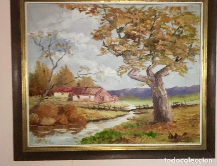 Arte: Cuadro Oleo pueblo Leon vistas rio Angel Hernandez Merino enmarcado 71x84 cm - Foto 2 - 88334320