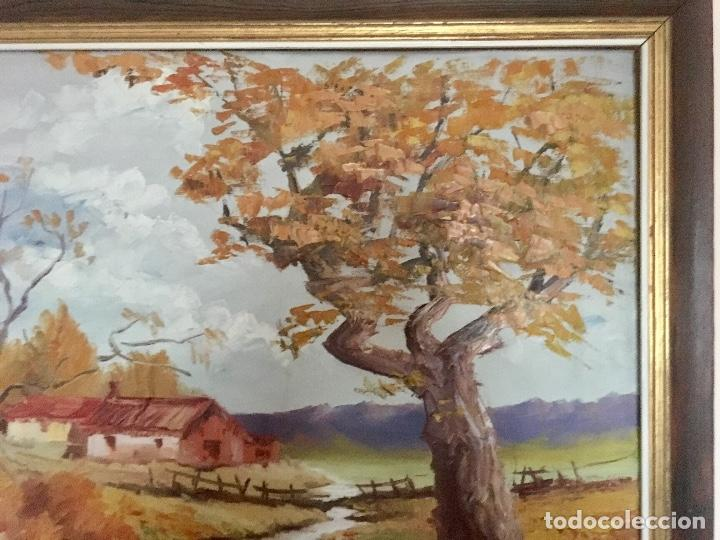 Arte: Cuadro Oleo pueblo Leon vistas rio Angel Hernandez Merino enmarcado 71x84 cm - Foto 5 - 88334320