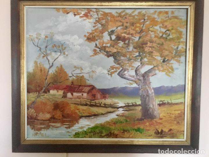 Arte: Cuadro Oleo pueblo Leon vistas rio Angel Hernandez Merino enmarcado 71x84 cm - Foto 6 - 88334320