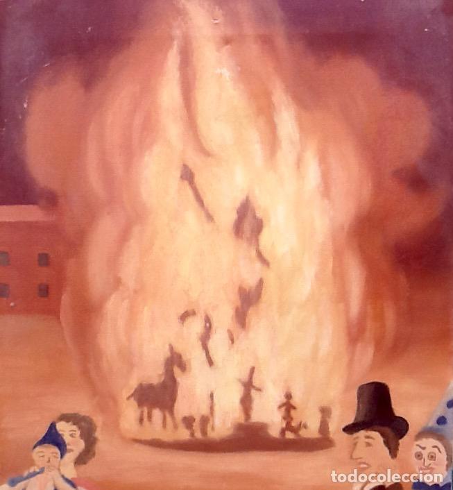 Arte: OLEO SOBRE TELA. HOGUERA FALLA CAMPOAMOR. VALENCIA.RAFAEL CONESA 1979.. ENVIO INCLUIDO EN EL PRECIO. - Foto 4 - 88355884