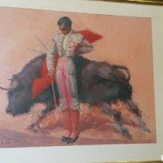 Arte: ÓLEO DE TEMA TAURINO DEL PRESTIGIOSO PINTOR TUSER BARCELONA 1959 TOROS CUADRO. Lote 88506430