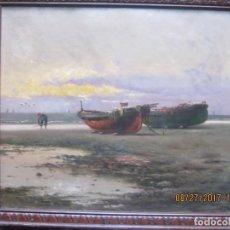 Arte: BARCAS Y PESCADOR - ENRIQUE MARTÍNEZ CUBELLS Y RUIZ -ÓLEO SOBRE TELA. Lote 88844352