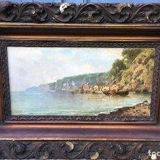 Arte: GIUSEPPE CARELLI (1858-1921) PINTOR ITALIANO - ÓLEO SOBRE TELA - PAISAJE COSTERO. Lote 89017424