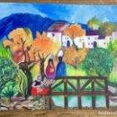 Arte: PINTURA FIGURATIVA PAISAJE CON CAMPESINAS. Lote 89021392