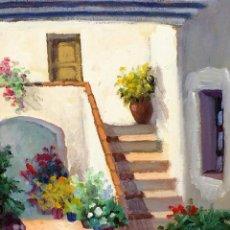 Arte: PATIO CON FLORES. ÓLEO SOBRE LIENZO. FIRMADO JOSEP FONT SELLABONA. ESPAÑA. 2002.. Lote 89187140