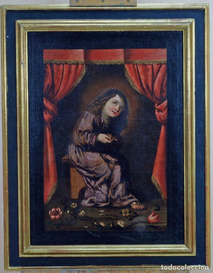 NIÑO DE LA ESPINA ÓLEO SOBRE LIENZO ESCUELA ANDALUZA SIGLO XVII (Arte - Pintura - Pintura al Óleo Antigua siglo XVIII)