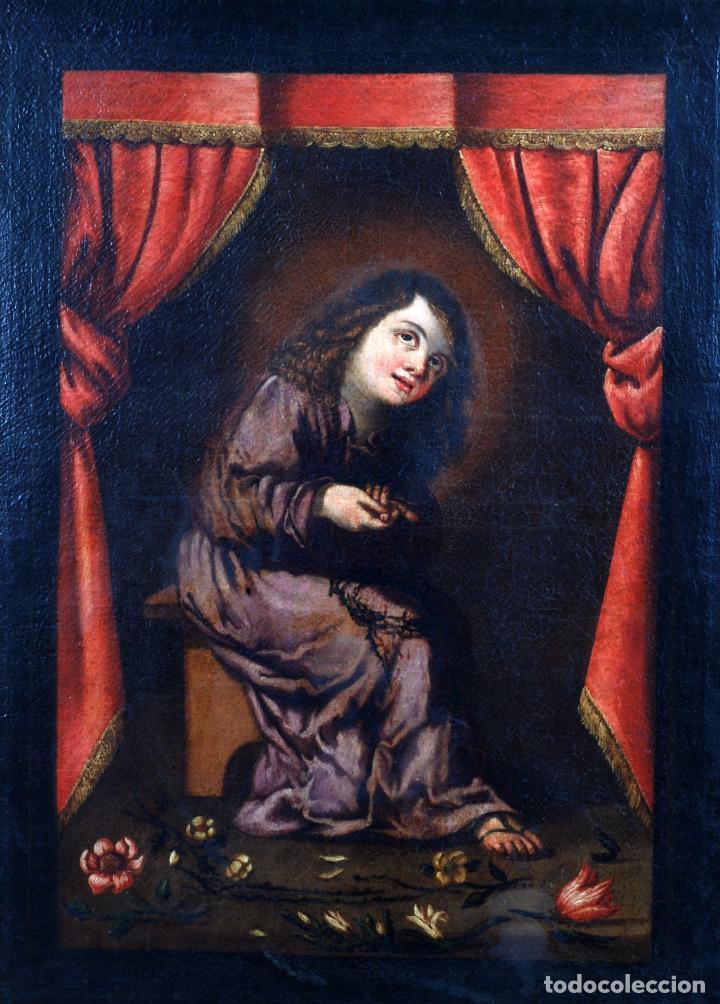 Arte: Niño de la espina óleo sobre lienzo escuela andaluza siglo XVII - Foto 2 - 89271488