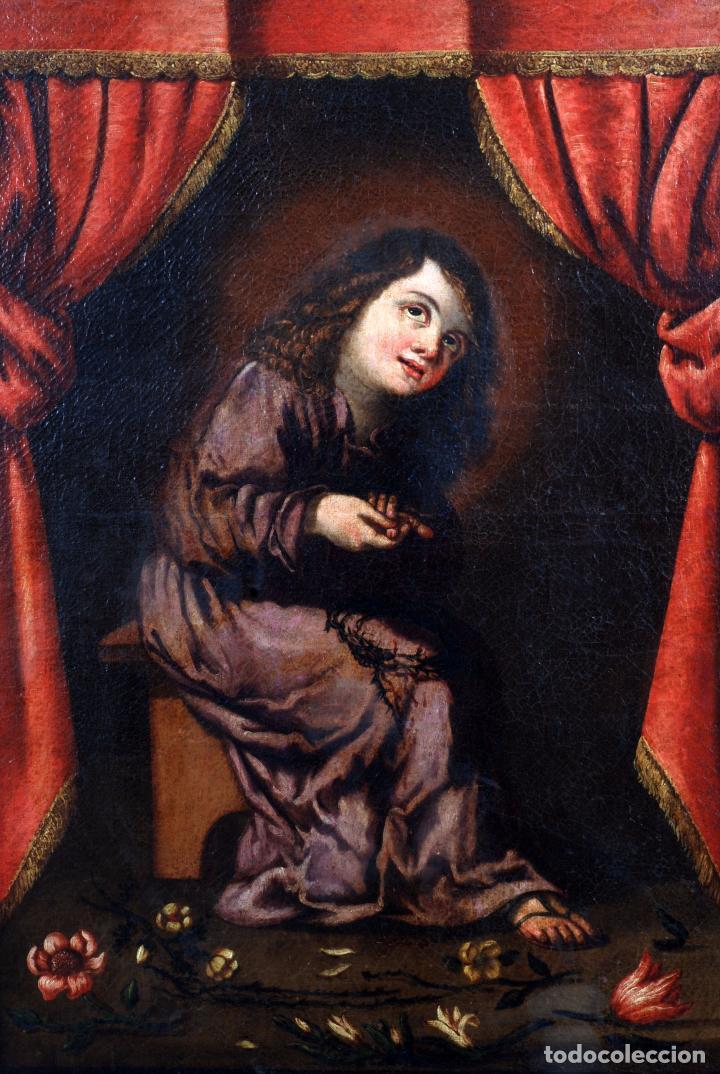 Arte: Niño de la espina óleo sobre lienzo escuela andaluza siglo XVII - Foto 3 - 89271488