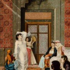 "Arte: ESCUELA FRANCESA DEL SIGLO XIX ""DANZA EN EL HARÉN"" ÓLEO SOBRE TABLA. FIRMADA - B. MOUNIER. Lote 89304580"