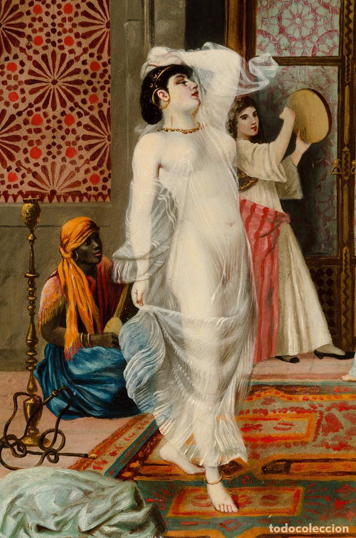 "Arte: Escuela francesa del siglo XIX ""Danza en el harén"" Óleo sobre tabla. Firmada - B. Mounier - Foto 2 - 89304580"