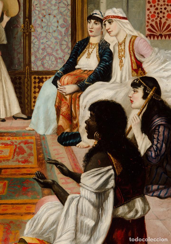 "Arte: Escuela francesa del siglo XIX ""Danza en el harén"" Óleo sobre tabla. Firmada - B. Mounier - Foto 3 - 89304580"