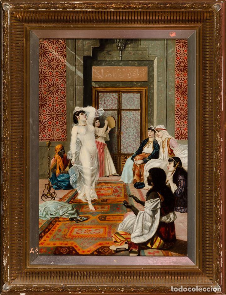 "Arte: Escuela francesa del siglo XIX ""Danza en el harén"" Óleo sobre tabla. Firmada - B. Mounier - Foto 4 - 89304580"
