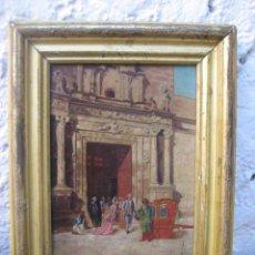 Arte: PINTURA TABLETA ANTIGUA S.XVIII PURINA SALIDA MISA ORIGINAL DE EPOCA CREO CATEDRAL DE SEVILLA. Lote 95583168