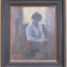 Arte: OLEO SOBRE TABLA REPRESENTANDO A UNA MUJER SENTADA EN UNA SILLA SIN FIRMAR. Lote 89502992