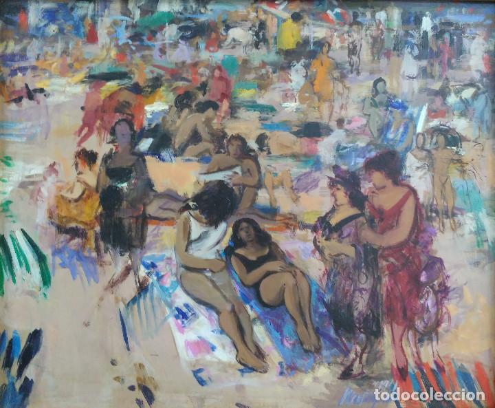 PHILIPPE MONTEAGUDO (1936-2016). TOMANDO EL SOL. GIJÓN (Arte - Pintura - Pintura al Óleo Contemporánea )
