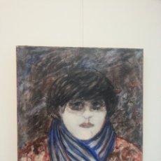 Arte: JEANNE SOCQUET: L'ÉCHARPE BLEUE / ÓLEO SOBRE LIENZO / NEO-EXPRESIONISMO FRANCÉS. Lote 89862612