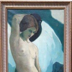 Arte: MUJER CON CÁNTARO Y ANGEL. ÓLEO/LIENZO. JOAQUÍN TERRUELLA MATILLA . ESPAÑA. 1920-1930. Lote 85508996