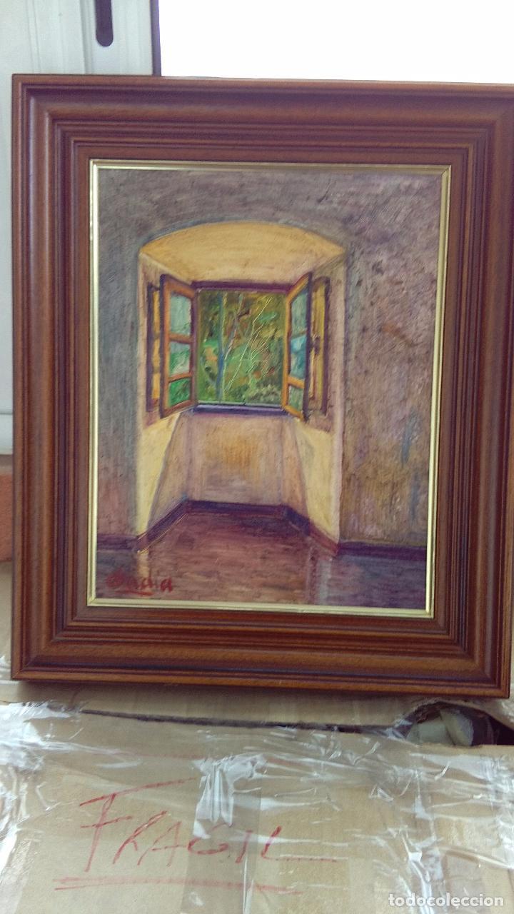 pintura al óleo de un interior con ventana, enm - Comprar Pintura al ...