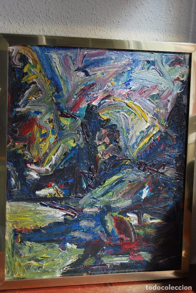 Arte: ÓLEO SOBRE TABLA - PAISAJE EXPRESIONISTA - G. MORALES - ENCENTROS CON LA RUTA DEL ALBA - ASTURIAS - Foto 2 - 90409714