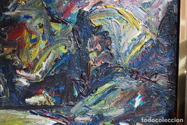 Arte: ÓLEO SOBRE TABLA - PAISAJE EXPRESIONISTA - G. MORALES - ENCENTROS CON LA RUTA DEL ALBA - ASTURIAS - Foto 4 - 90409714