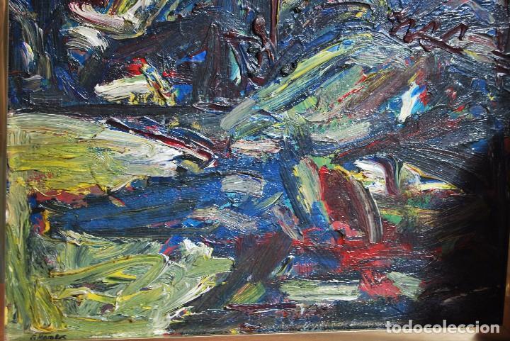 Arte: ÓLEO SOBRE TABLA - PAISAJE EXPRESIONISTA - G. MORALES - ENCENTROS CON LA RUTA DEL ALBA - ASTURIAS - Foto 5 - 90409714