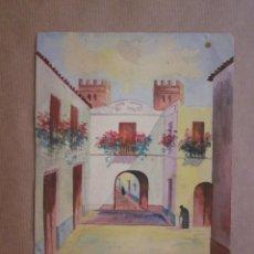 Arte: ORIGINAL PINTADO A MANO PARECE ACUARELA AÑOS 50 EL ABORICO VICTORIA SEVILLA. Lote 90635075