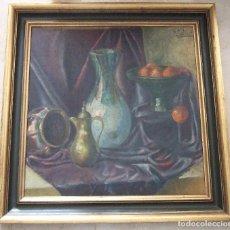 Arte: PINTURA AL OLEO SOBRE LIENZO - BODEGON - CON FIRMA - ALAMI GUESAUI - ENMARCADO 71X71. Lote 90888720