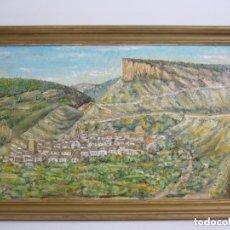 Arte: OEO PAISAJE MONTAÑA-PUEBLO ANONIMO.LEER DESCRIPCION.. Lote 90973705