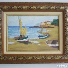 Arte: OLEO MARINA BARCAS FIRMADA.LEER DESCRIPCION. Lote 90978495