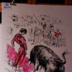 Arte: LOPEZ - CANITO, SERIE DE NUEVOS TRANCES DE UNA CORRIDA Y TOROS EN EL CAMPO. Lote 91387265