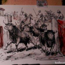Arte: MAYORALES LLEVANDO A LOS TOROS. OLEO LOPEZ - CANITO. Lote 136314054