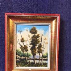 Arte: OLEO TABLA AÑOS 50 PAISAJE ARBOLADO CON RIO MARCO ORIGINAL 16X13CMS. Lote 91759850