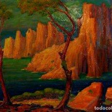 Arte: COSTA DE SANT FELIU DE GUIXOLS. ÓLEO SOBRE LIENZO. SIN FIRMA. ESPAÑA. CIRCA 1930. Lote 92009655