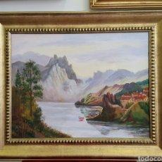 Arte: PAISAJE ÓLEO SOBRE LIENZO PRECIOSO MARCO DORADO DE MADERA. Lote 92096350