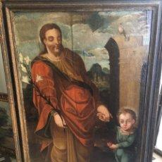 Arte: SAN JOSÉ CON EL NIÑO JESUS DE LA MANO. SIGLO XVI. ÓLEO TABLA. Lote 92159488