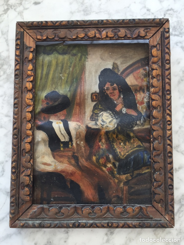 PEQUEÑO ÓLEO MUY ANTIGUO (Arte - Pintura - Pintura al Óleo Antigua sin fecha definida)